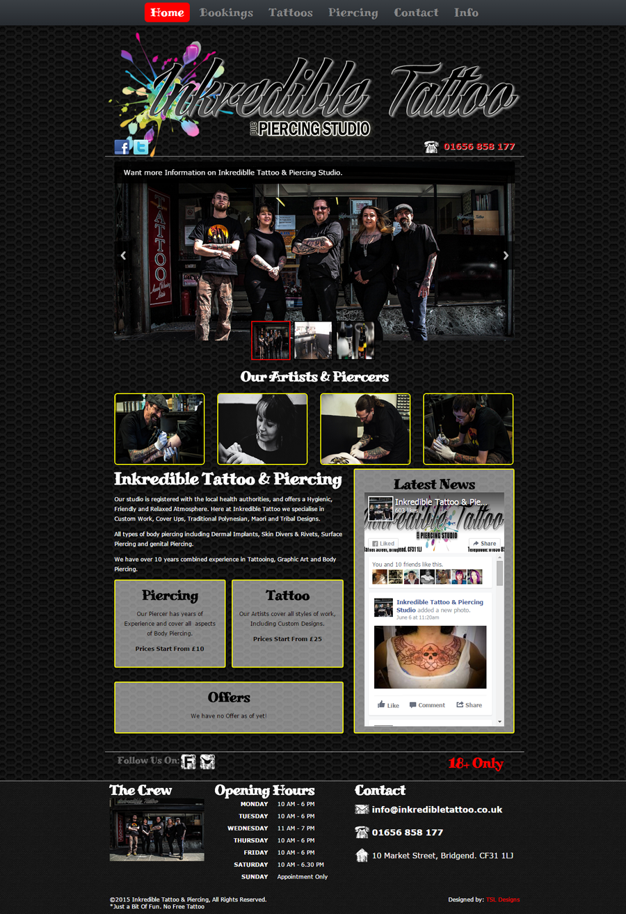 Inkredible Tattoo Website Home Screen