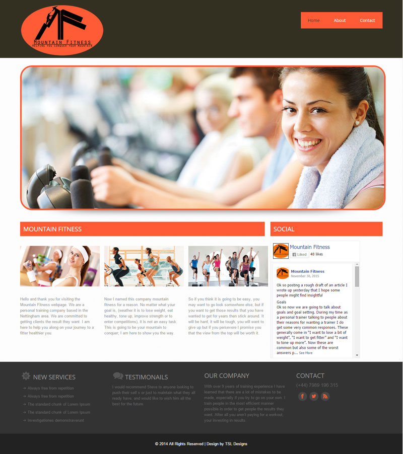 Mountain Fitness Website Home Screen